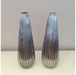 Silver Ceramic Teardrop Vase