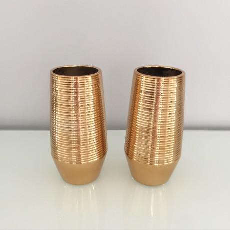 Gold Cylinder Ceramic Vase