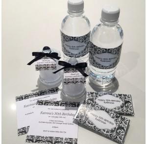 Elegant black-white theme invitation & gifts