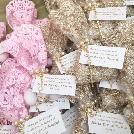 Pink & Gold lace bonbonniere bags with mini rosary bead