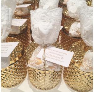 Gold glass candle & lace bag bonbonniere