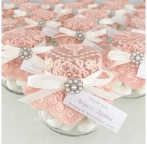 Coral  lace candy jar bonbonniere