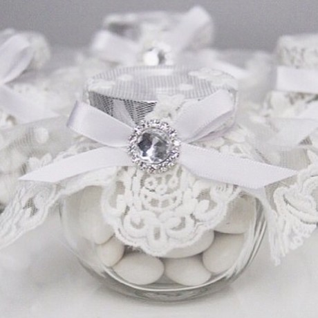 White lace candy jar bonboniere