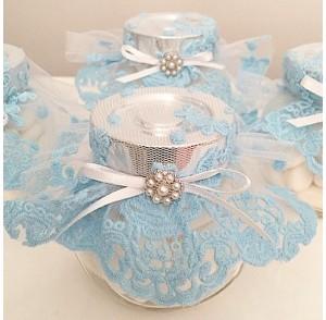 Baby blue lace candy jar bonbonniere
