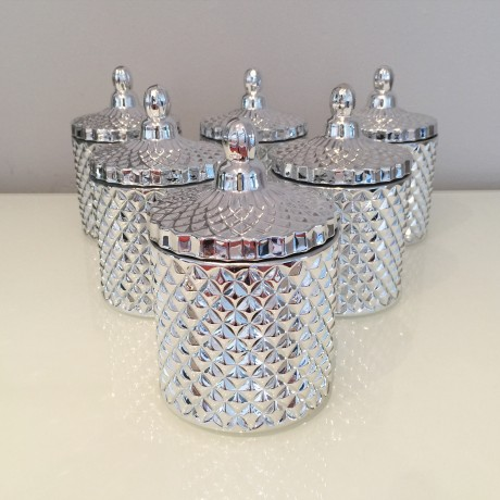 Glass Candle - Silver