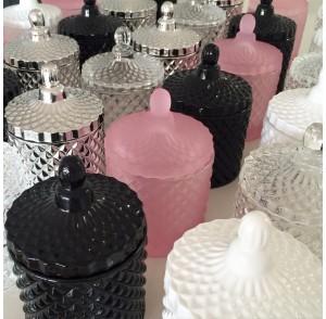 Glass candle bonbonniere (Pink, Black, Silver, White)