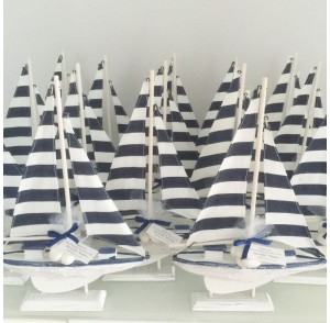 Wooden navy & white stripe sailing boats