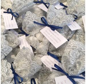 Silver lace bonbonniere bags