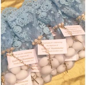 Baby blue lace bonbonniere bags
