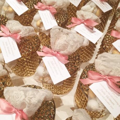 Gold glass candle & ivory lace bag bonbonniere