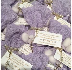 Lilac lace bonbonniere bags