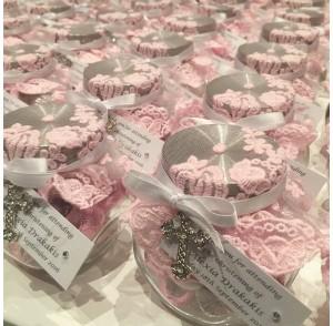 Pink lace candy jar bonbonniere