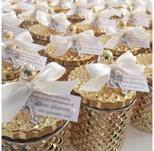 Gold glass candle & cross bonbonniere