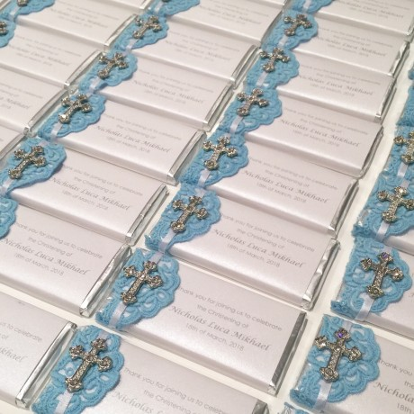 Baby blue lace chocolate bar bonbonniere