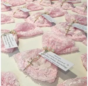 Pink lace bonbonniere bags