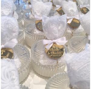 Decorative round ribbed trinket candle bonbonniere
