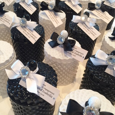 Black & white glass candle bonbonniere