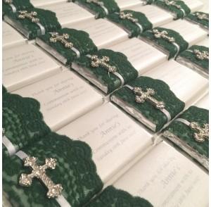 Jade green lace chocolate bar bonbonniere