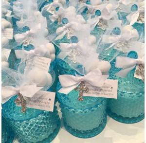Blue glass candle bonbonniere