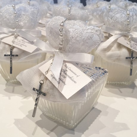Decorative ribbed trinket candle bonbonniere